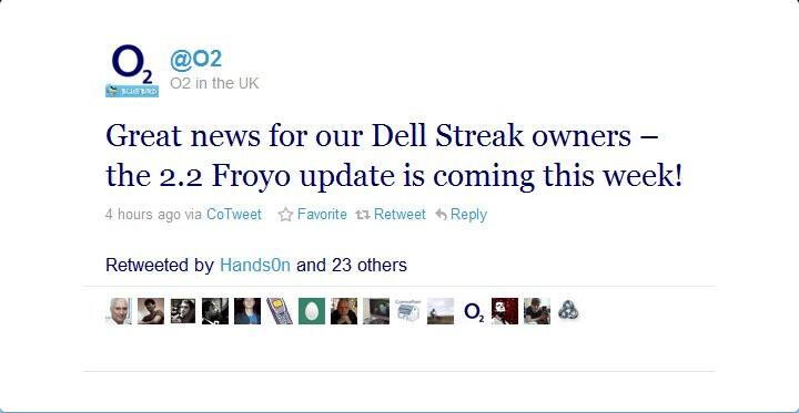 O2 UK expects to push out Android 2.2 Froyo update for the Dell Streak this week