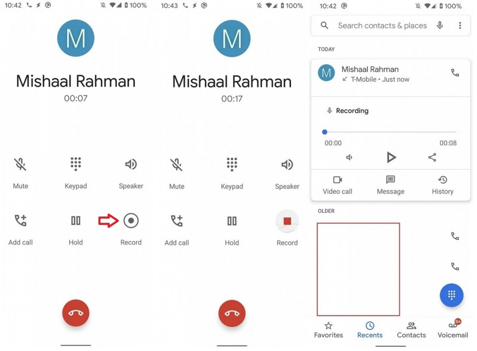 Screenshots of the call recording feature expected to hit some Android phones soon; image credit XDA - A native call recording feature for Android might be rolled out at any moment