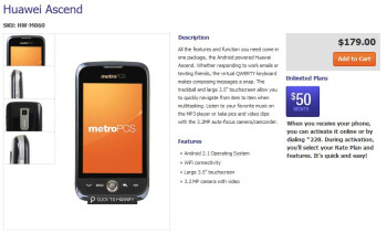 Affordable Huawei Ascend goes on sale through MetroPCS for $179