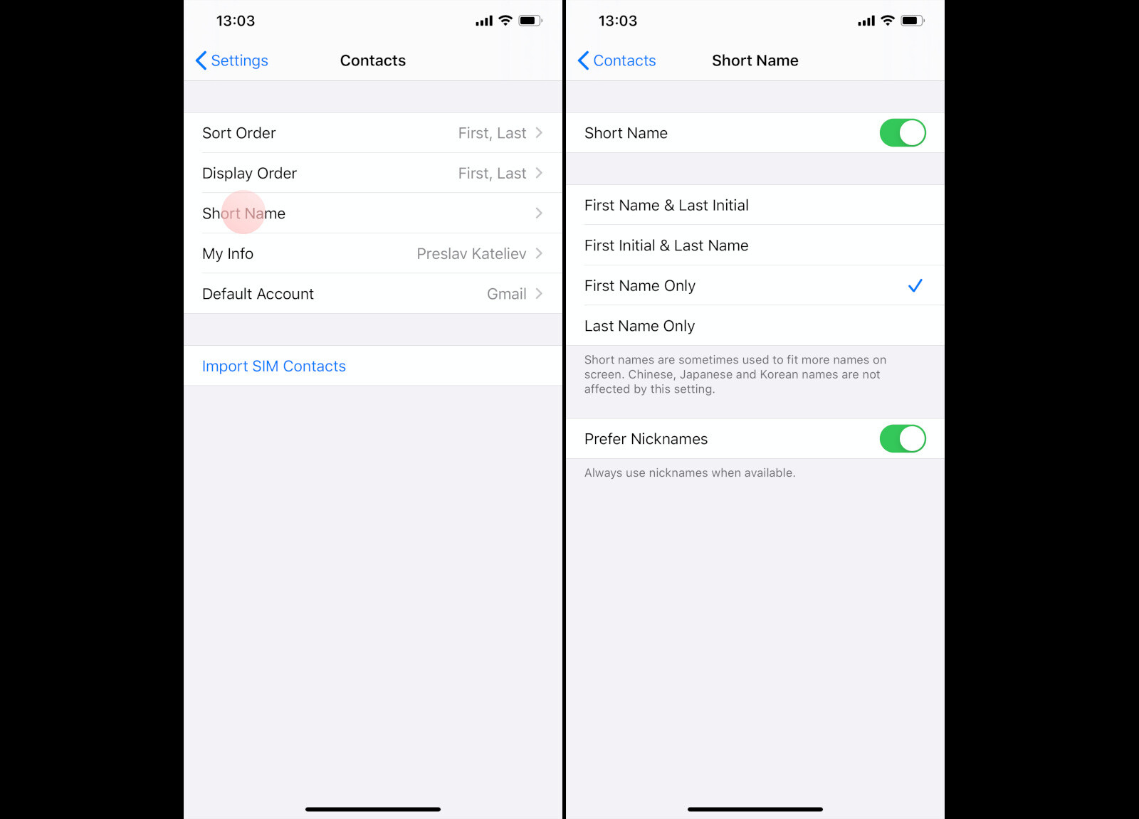 How to sort contacts by first or last name on iPhone