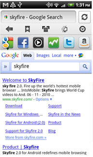 A new version of Skyfire is available in the Android Market