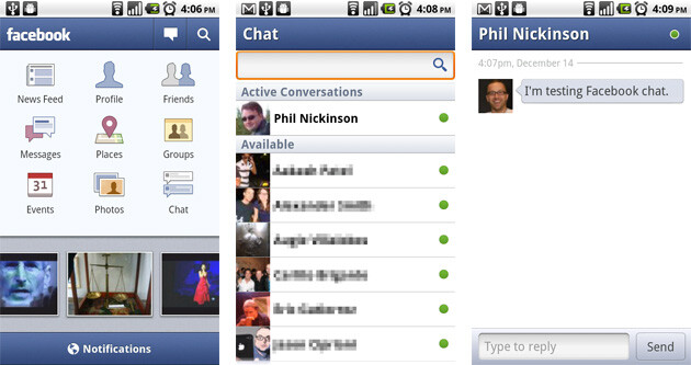 The new Facebook for Android 1.5 brings chat and push notification to the Android app - Facebook 1.5 now ready for Android Market