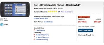 Dell Streak falls to $99 at Best Buy