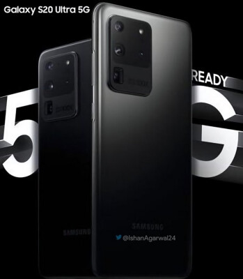 The Samsung Galaxy S20 Ultra 5G appears in Cosmic Black on a teaser - Sprint will reportedly launch the Galaxy S20 Ultra 5G model with 16GB of RAM