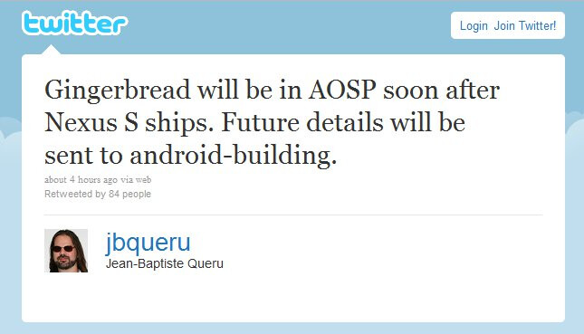 Gingerbread will appear in AOSP soon after Nexus S ships