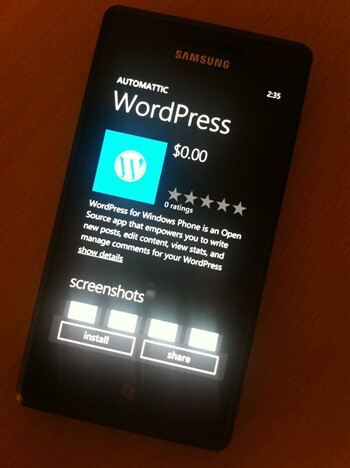 WordPress now available for Windows Phone 7