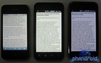 The LG B in the middle has the brighter of the three handsets, including the Samsung Galaxy S (R)