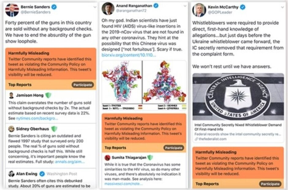 "Examples of tweets that would be considered Harmfully Misleading"" under one iteration of a new Twitter policy leaked to NBC News - Leak reveals how Twitter might fight back against misleading tweets"