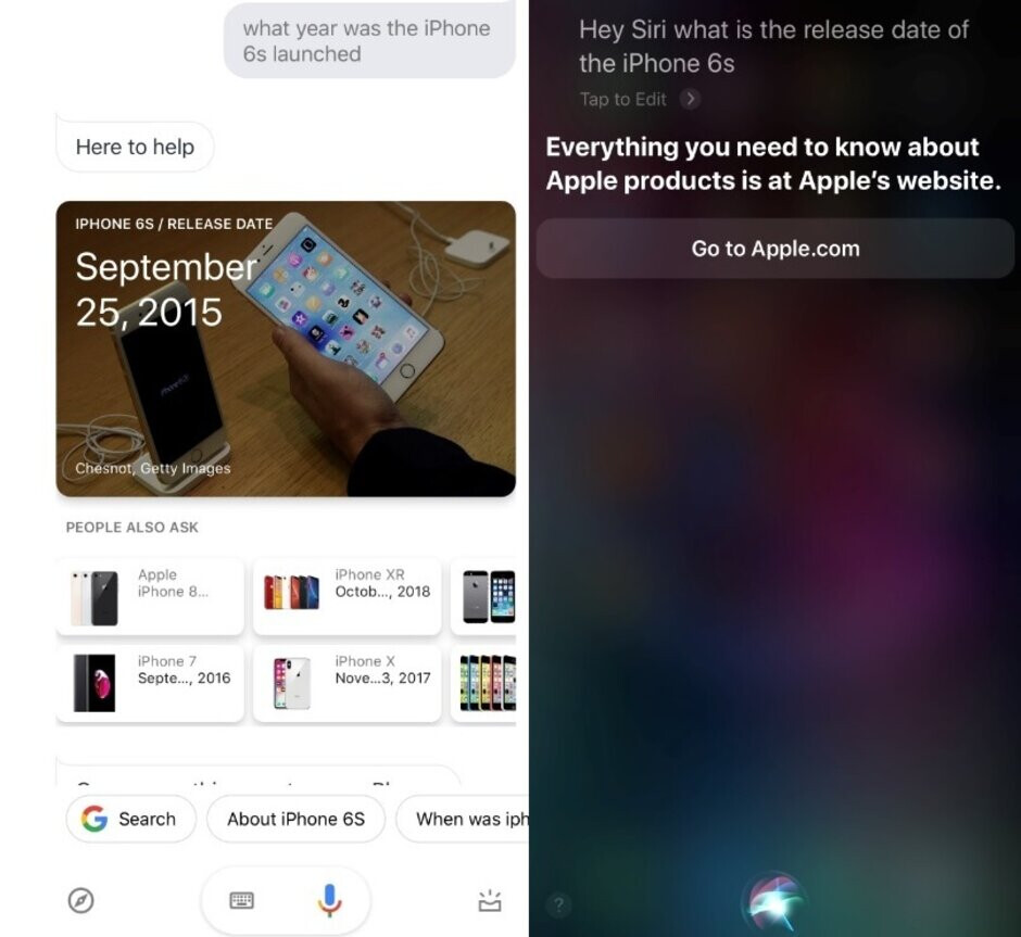 When was the iPhone 6s released? Answers from Google Assistant and Siri - Apple has a Siri-ous problem