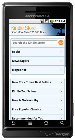 Version 2.0 of the Kindle for Android app is now available from the Android Market
