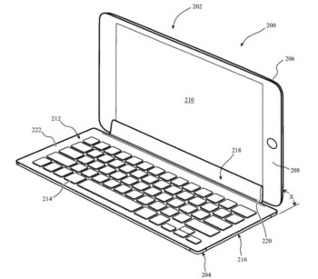 Illustration from Apple's patent showing how a keyboard accessory could connect to an iPad through the tablet's display - Apple AirPods Pro Lite production to start, iPhone 9 prototypes tested, new patent application filed