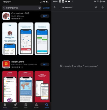 Search results for coronavirus apps from the App Store (L) and Google Play Store - Developers say that Apple has rejected their coronavirus app submissions