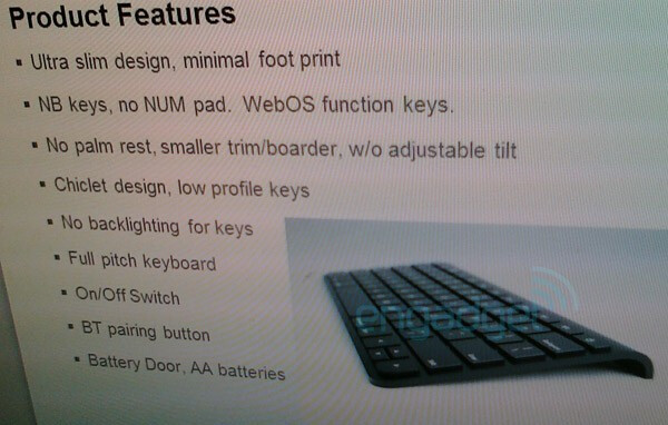 """This keyboard is expected to be an accessory for the upcoming Palm tablet codenamed """"Topaz"""" - Palm to release webOS tablet in first half of 2011; low-end webOS teen phone also planned"""