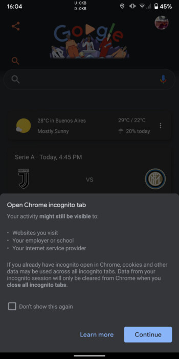 Shortcut for new Chrome incognito tab - Google updates Google app with a shortcut for Chrome incognito mode