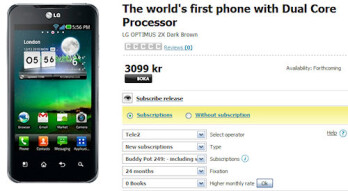 Pre-orders for the world's first dual-core handset, the LG Optimus 2X, are now being taken in Scandinavia