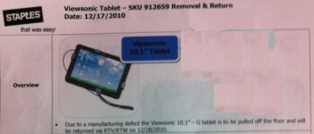 The Viewsonic gTablet with its Tegra 2 dual-core processor has been removed from Staples stores