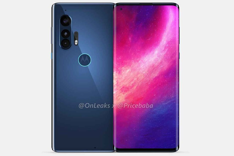 Render of the Moto Edge+ 5G shows of rear camera module and front-facing punch-hole selfie snapper - Motorola's new flagship could have something in common with the Samsung Galaxy S20 Ultra 5G