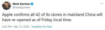 Tweet from Bloomberg's Mark Gurman passes on the good news - All 42 Apple Stores in China are now open