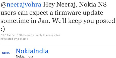 Nokia India says that the anticipated Nokia N8 update is coming in January