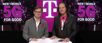 Incoming T-Mobile CEO Mike Sievert at left and outgoing CEO John Legere at right - T-Mobile closes all stores inside shopping malls