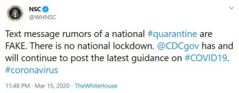 The National Security Council rejects rumors about a national quarantine - Seven top social media platforms agree to stop lies about COVID-19