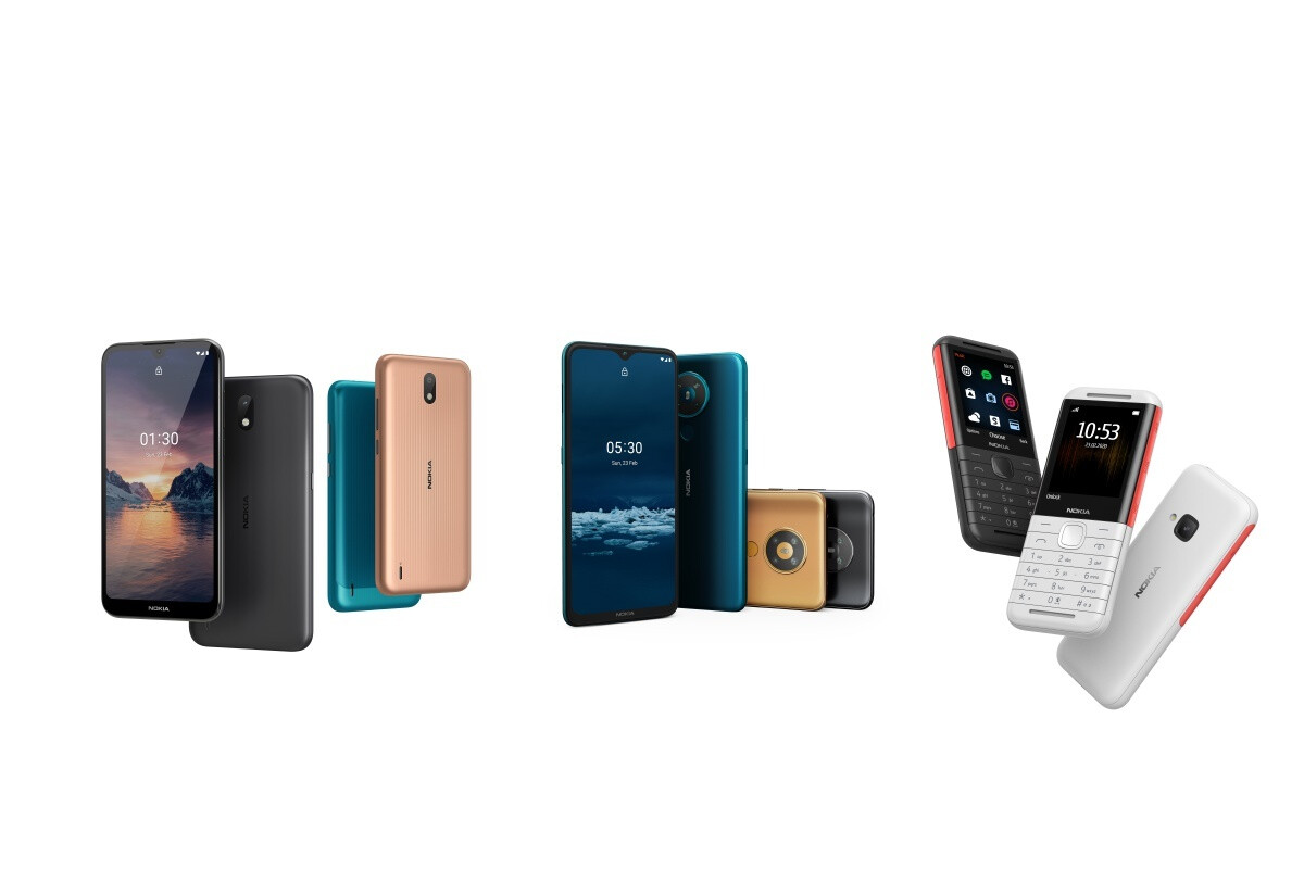 Nokia 1.3, Nokia 5.3, Nokia 5310 (left to right) - Check out Nokia's latest affordable smartphones and modernized feature phone