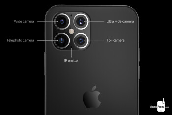 This render shows the expected quad-camera system on the iPhone 12 Pro Max - Despite supply chain hiccups, Apple still expects to release its first 5G iPhone models this fall