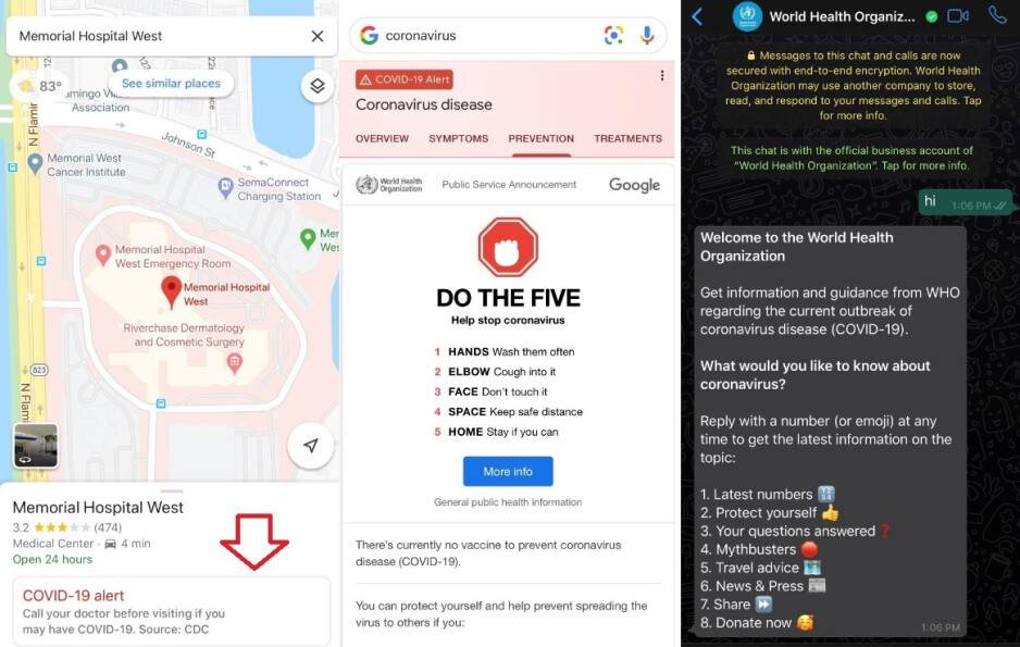 COVID-19 information from (L to R) Google Maps, Google Search and WhatsApp - New Google Maps feature is designed for those who fear that they have been infected
