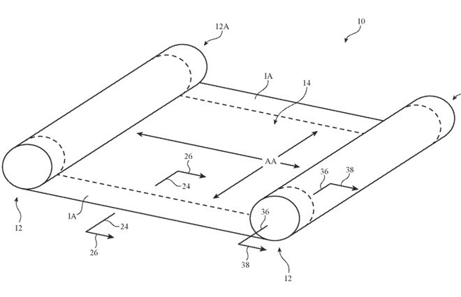 An illustration of the possible flexible device - Rollable iPhones may be coming in the future
