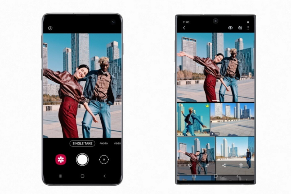 The Single Take feature in action on the Galaxy S10 (left) and Note 10 (right) - Samsung brings some of the Galaxy S20 magic to the Galaxy S10 and Note 10 series with One UI 2.1