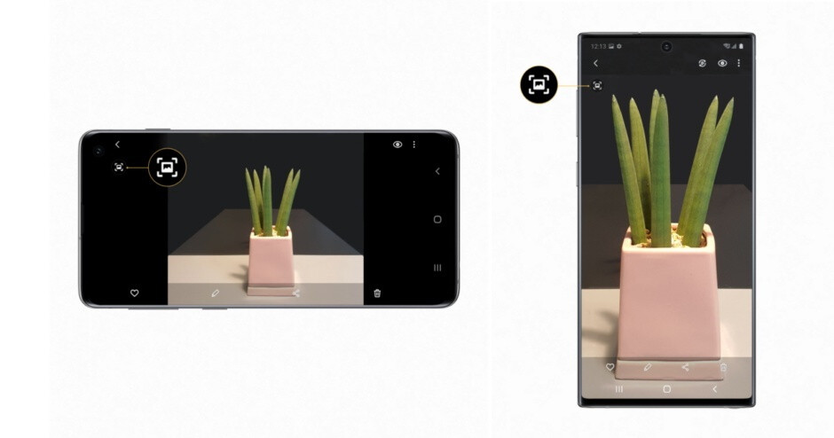 Here's how Quick Crop works on the Galaxy S10 (left) and Note 10 (right - Samsung brings some of the Galaxy S20 magic to the Galaxy S10 and Note 10 series with One UI 2.1