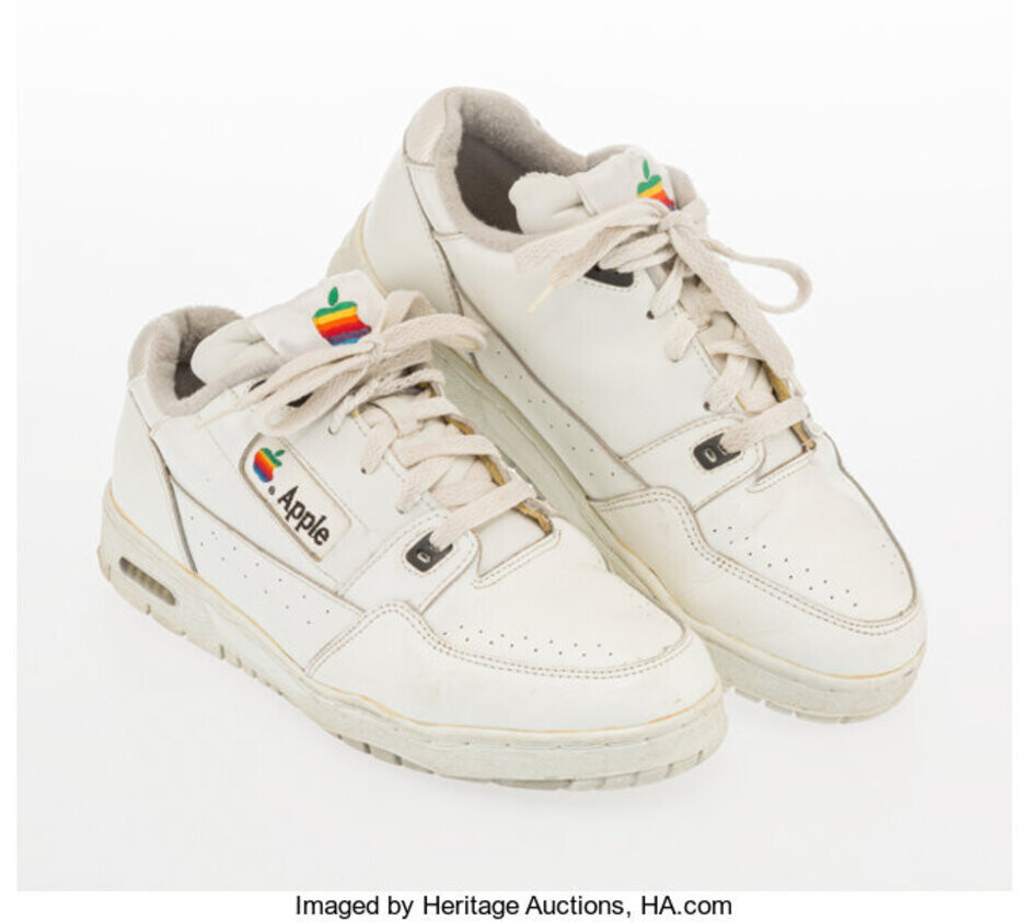 These Apple-branded sneakers, made for employees in the mid 1990s, sold for $10,000 in an auction - Winning bidder spends $10,000 on a pair of Apple branded sneakers