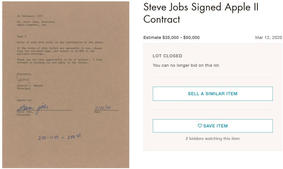 This Apple II contract signed by Steve Jobs was won at auction for $37,023 - Winning bidder spends $10,000 on a pair of Apple branded sneakers