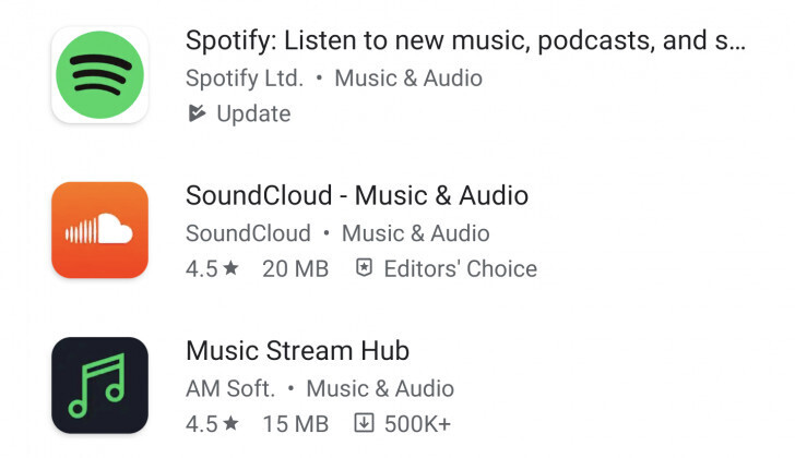 Additional information in search results - Google Play adding app size and download count in search results