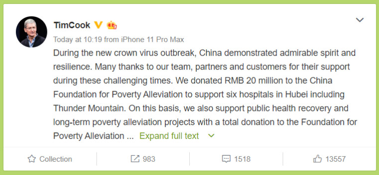Tim Cook announces Apple's support on Chinese Twitter equivalent Weibo. - Apple donates over $7 million to COVID-19 recovery efforts in China