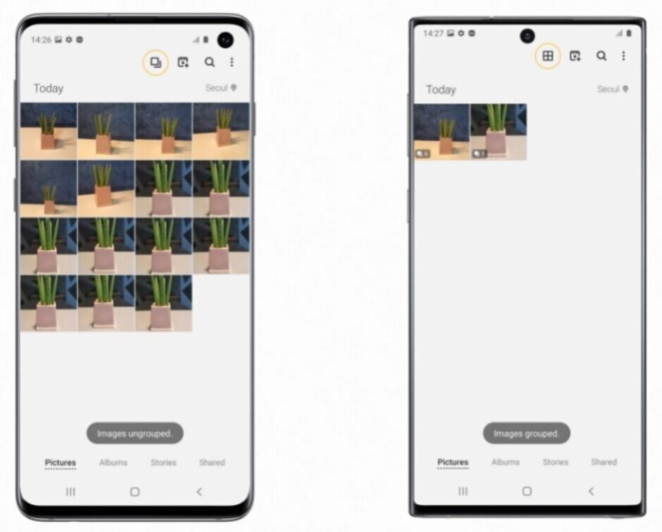 The Gallery app, with Clean View enabled for the Galaxy S10 (L) and Galaxy Note 10 (R), uses AI to group together images of similar subjects - Update is bringing photography features found on the Galaxy S20 Ultra 5G to last year's flagships
