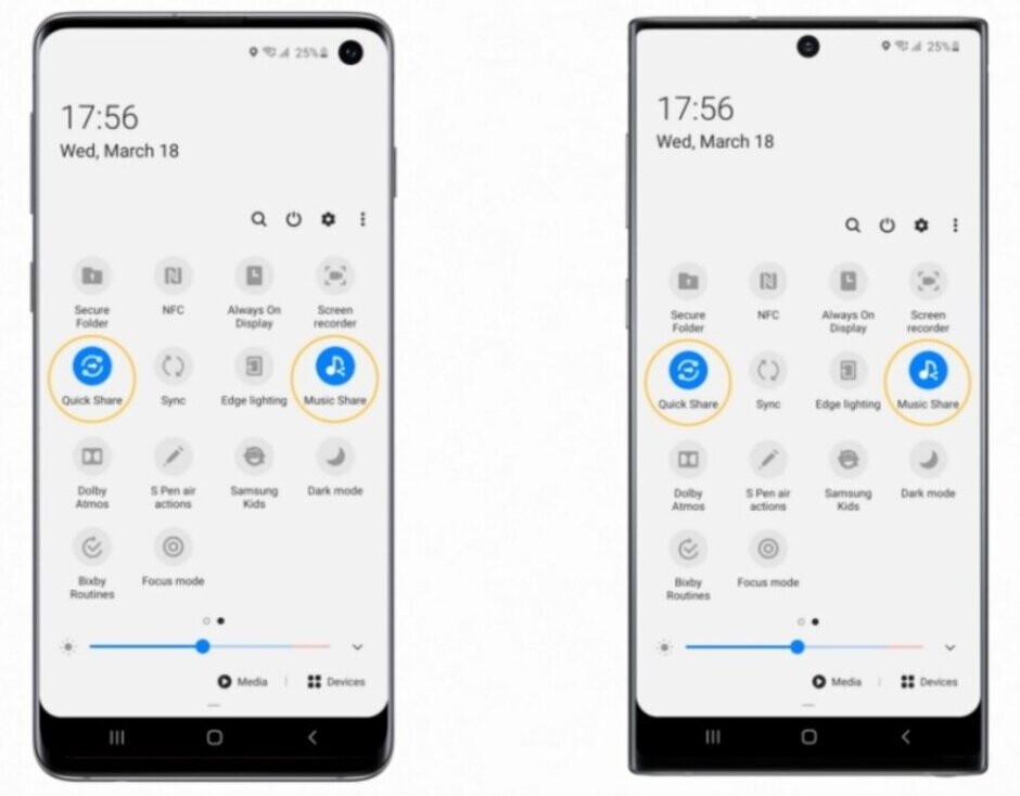 Quick Share will send large files to nearby contacts while Music Share allows a friend to stream his music through your Bluetooth connection - Update is bringing photography features found on the Galaxy S20 Ultra 5G to last year's flagships