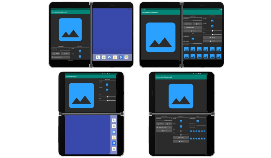 Different layout options developers have to consider for the Surface Duo - Microsoft publishes images showing single and dual-screen layouts for the Surface Duo