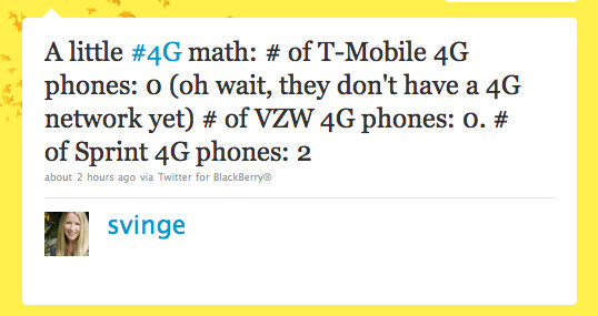 Based on the ITU's new definition of 4G, this tweet from a Sprint executive is totally incorrect - Sprint fuels the fire, instigates fight with T-Mobile but gets the facts wrong