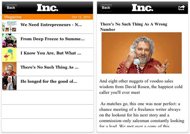 Inc. magazine now has an app for both iOS (pictured) and Android with a BlackBerry version coming soon - Apple iPhone and Android get Inc. magazine app while BlackBerry version is on the way