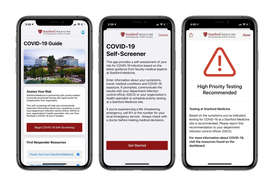 Apple and Stanford develop new app for first responders - Apple updates its COVID-19 app and launches a new one to help first responders get tested