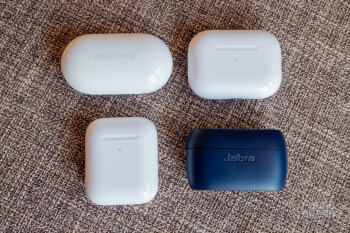 All four carrying cases are relatively small and fit nicely in a pocket - Samsung Galaxy Buds+ vs AirPods Pro, AirPods, Jabra Elite Active 75t