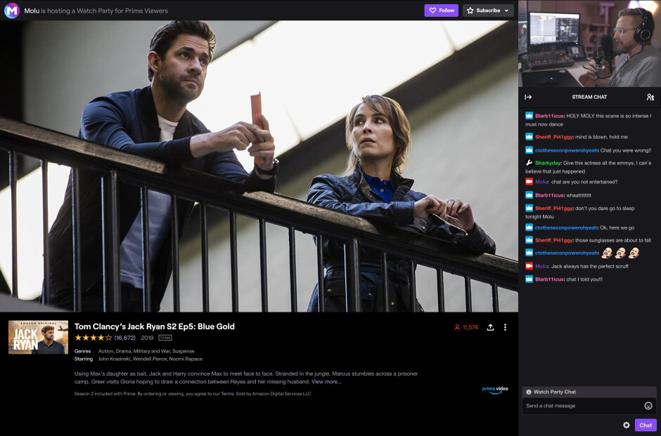 Screenshot showing the Twitch Watch Parties experience - Twitch Watch Parties lets streamers and their audiences watch Amazon Prime movies together
