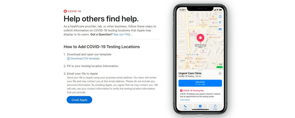 Image source - Apple - Apple starts registering COVID-19 testing locations, will display them on Apple Maps