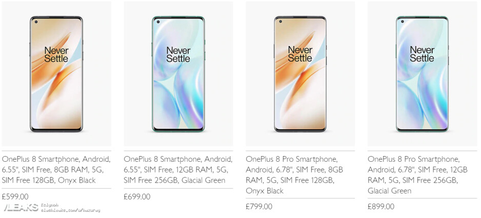 OnePlus 8 Pro price UK - The OnePlus 8 and 8 Pro 5G prices and memory versions appear hours before unveiling
