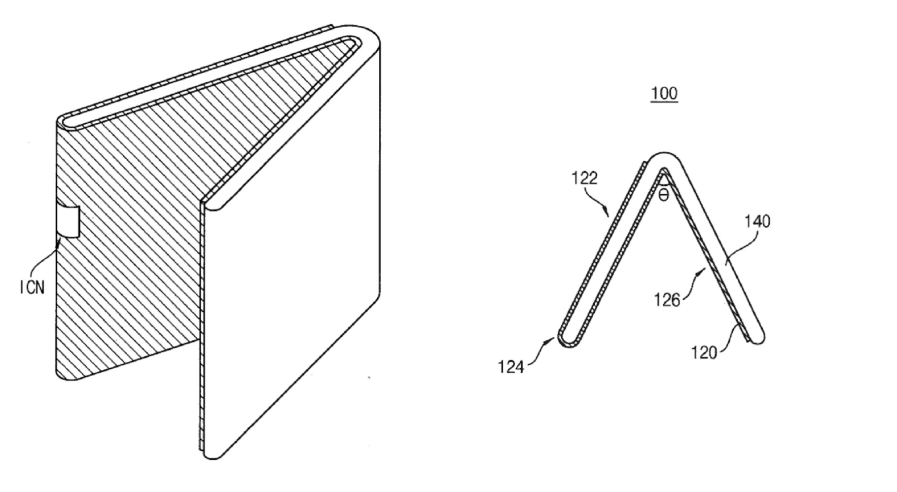 The patent shows a foldable screen that curves around the edge of the device, to the outside - New Samsung patent suggests changes to future Galaxy Z Flip models