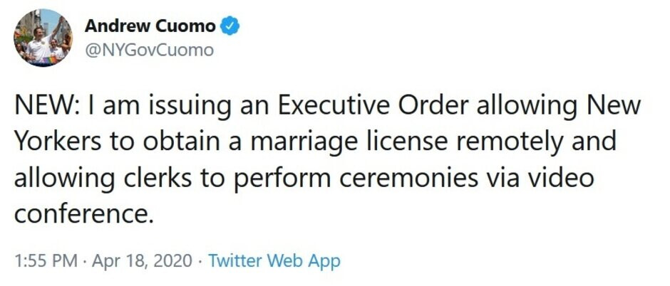 Governor Andrew Cuomo of New York issues an Executive Order allowing weddings to be held virtually in the state - New Yorkers can get married over FaceTime during coronavirus outbreak