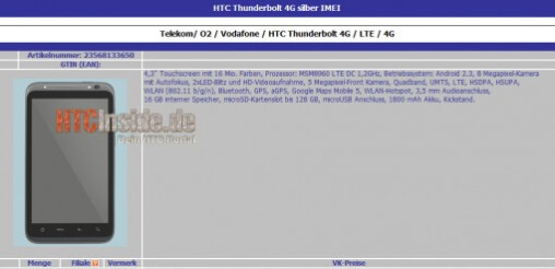 The specs for the HTC Thunderbolt on this data sheet appear to be too optimistic - HTC Thunderbolt has specs leaked-are they too good to be true?