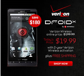 CompUSA is offering new Verizon customers the chance to buy the flagship Motorola DROID X for just $19.99 with free activation and shipping