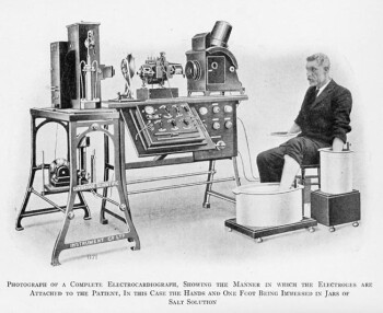 One of the first ECG machines; now the Apple  iPhone will take the measurements and more while fitting in your back pocket